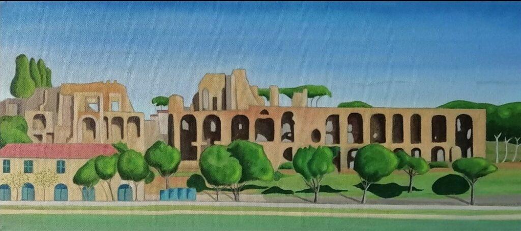 18 Monte Palatino, Roma, 20 óleo sobre tablex,80x35 cm.