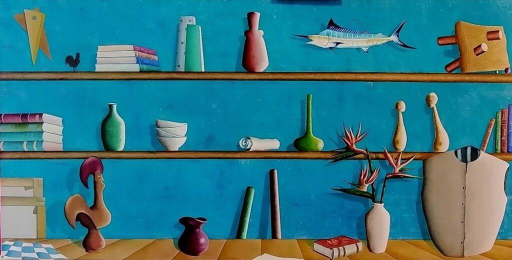 2 Mi Querido Gallo y sus lecturas 20. Óleo lienzo. 120x60 cm,sm.
