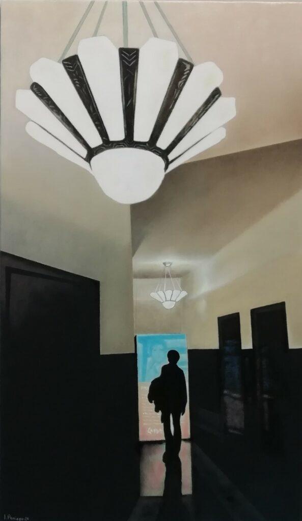 8 Marta y la Pantalla Marrakech, 20. Óleo Lienzo. 46x27 cm,sm.